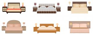Various types of upholstered beds