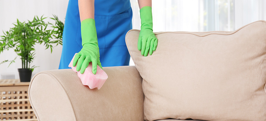 cleaning a polyester couch with sponge