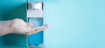 sanitising hands