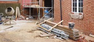 House extension under construction in the UK