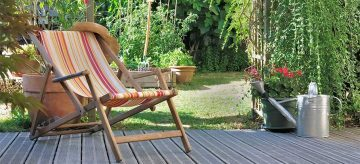 Wooden deck in a backyard